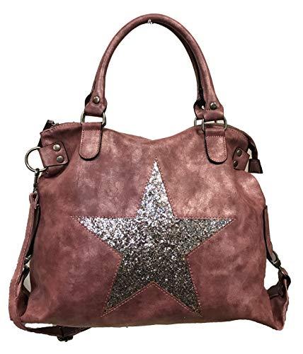 Stern Glitzer Damen Tasche Star Fashion Shopper Henkeltasche Glanz Style Bag (Rosa)