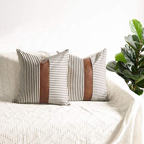 Farmhouse Decoration Pillow Covers 18x18 inch Set of 2 Modern Faux Leather and Ticking Stripe Pillow Covers Boho Indoor Outdoor Decor Cushion Covers for Couch Sofa,Gray