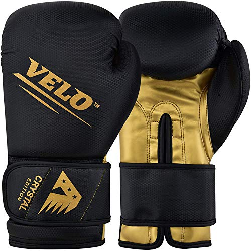 VELO Boxing Gloves Crystal Leather Muay Thai Training Sparring Punching Bag Mitts Kickboxing Fighting Glove for Punch Bag | Focus Pad | Arm Kick Pad (16oz, Golden-Black)