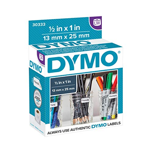 DYMO Authentic LW Extra-Small Multi-Purpose Labels for LabelWriter Label Printers, White, 1/2'' x 1'', 1 roll of 1,000 (30333)