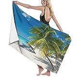 Grande Suave Ligero Microfibra Toalla de Baño Manta,Coconut Palm en Caribbean Beach Cancún México,Hoja de Baño Toalla de Playa por la Familia Hotel Viaje Nadando Deportes,52' x 32'