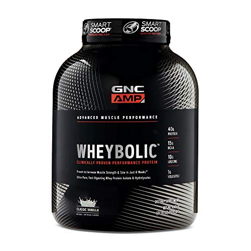 GNC AMP Wheybolic Whey Protein Powder - Classic Vanilla, 33 Servings, Contains 40 Protein, 15g BCAA,...