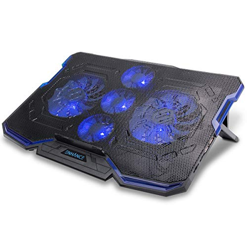 ENHANCE Cryogen Gaming Laptop Cooling Pad - Fits up to 17 inch Computer, PS4 - Adjustable Laptop Cooling Stand with 5 Quiet Cooler Fans, 2 USB Ports and LED Lighting - Slim Portable Design 2500 RPM