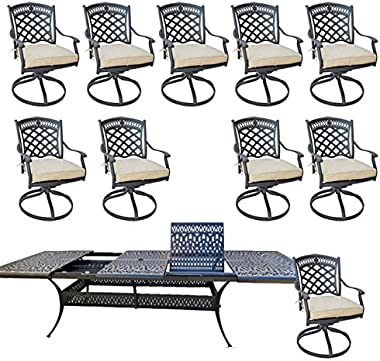 """11 Piece Outdoor Dining Set Patio Furniture Cast Aluminum with Elisabeth 48""""x132"""" Extension Table."""