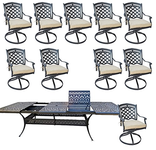 11 Piece Outdoor Dining Set Patio Furniture Cast Aluminum with Elisabeth 48'x132' Extension Table.