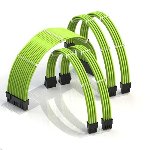 LINKUP - 30cm PSU Personalizzato Prolunga Cavo Alimentatore Mod PC GPU┃Intrecciato con Kit Pettine┃1x 24 P (20 + 4)┃2x 8 P (4 + 4) CPU┃2x 8 P (6 + 2) Set di GPU┃300mm - Verde