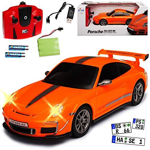 Siva Porsche 911 997 GT3 RS 4.0 Coupe Orange 2,4 GHz RC Funkauto mit Beleuchtung und Akkupack 1/24 Modell Auto mit individiuellem Wunschkennzeichen