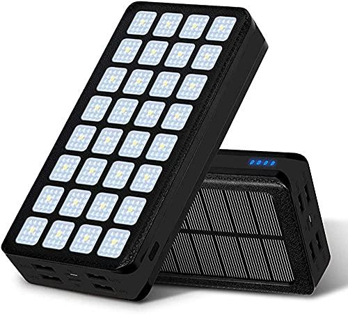 Banco De Energía Solar 20000mah, Cargador Portátil Solar Cargador Portátil Paquete De Batería De Copia De Seguridad Externa Con 32 Luces Led Enorme Capacidad De Copia De Seguridad De Capa(Color:Negro)
