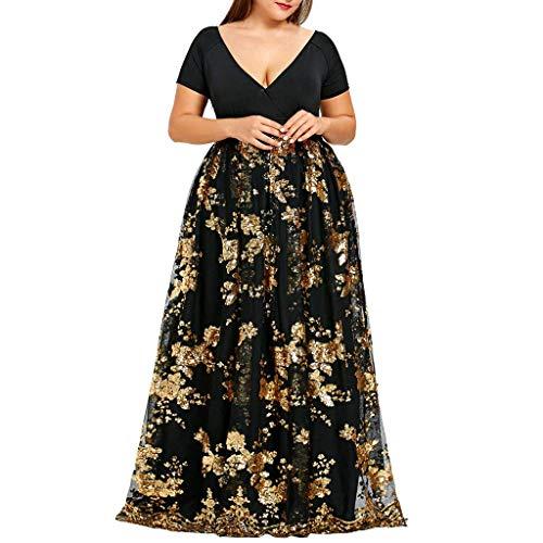 INSTO Plussize bruidsjurk voor dames, zomer, korte mouwen, bloemenprint, lang, maxi jurk, korset, lange bruidsmeisjesjurk, goud, 4XL.