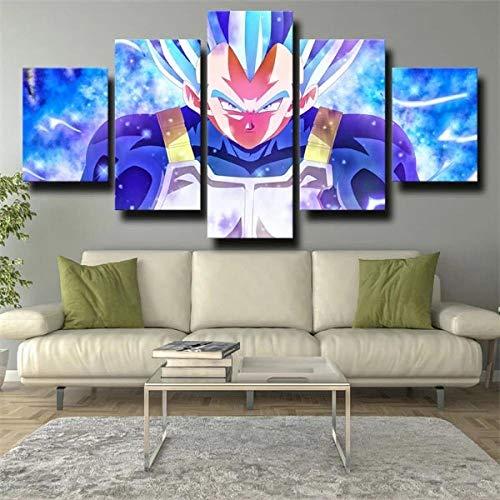 Gtart 3D Bilder Wohnzimmer Wandbilder Modern Wandbild Leinwand Bilder 5 Teilig Vegeta Blaues Haar Wanddekoration Design Wandkunst 5 Stücke Leinwand Kunstdruck