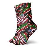 yting Calcetines casuales de la bandera de Kenia con la bandera de América Calcetines de tobillo Calcetines de compresión de vestido corto para mujeres Hombres