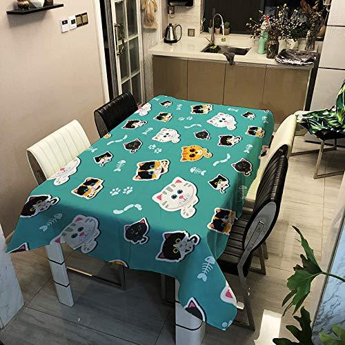 SHANGZHAI Cartoon Kleintier Serie Tischdecke, wasserdicht und Antifouling, Polyester Bedruckte Tischdecke, rechteckige Home Restaurant Tischdecke ZB2132-10 140x180cm