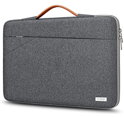 TECOOL 14 Inch Laptop Sleeve Protective Case Cover with Handle and Pockets for 14 Inch HP Lenovo Thinkpad Ideapad Dell Acer ASUS Chromebook Notebook Water-resistant Computer Bag, Dark Grey