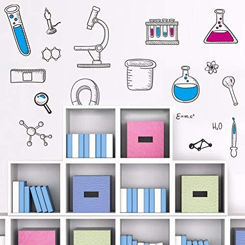 PVC Mikroskop Wissenschaft Wissenschaftler Chemie Schule labor Vinyl Wandaufkleber wohnkultur für kinderzimmer schlafzimmer wohnzimmer
