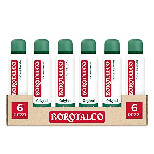 Borotalco Deodorante Spray Original con Microtalco, Assorbe il Sudore, senza Alcool, Pelle Asciutta e Protetta, Profumo Fresco e Agrumato, Deodorante Uomo e Donna - 6 Flaconi da 150 ml