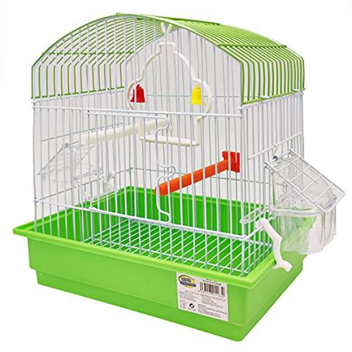 BPS BPS-1163 Cage pour oiseau oiseau journalier avec mangeoire pour abreuvoir, cintres pour déménagement, couleur au hasard 27,5 x 19,5 x 30 cm