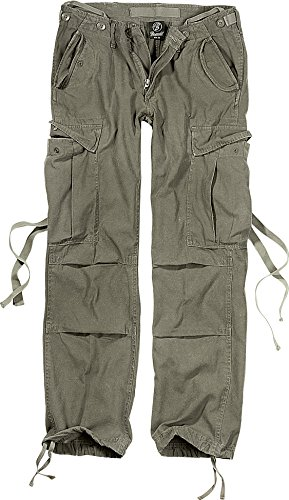 Brandit Pantalones M65 Chica Mujer Pantalones Cargo Negro, Vintage Recto