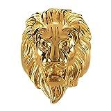 BOBIJOO JEWELRY - Bague Chevalière Homme Tête de Lion Gipsy Gitan Forain Acier Plaqué Or Argenté - 56 (7 US), Doré Or Fin -...