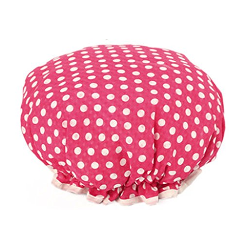 Design élégant de douche imperméable Double Layer Cap Spa bain Caps, Rose Dot