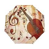 Creative Music Pintura Paraguas Mujer 8k Pongee Auto Open Cerrar Viaje Paraguas automático Mujeres Paraguas Plegable Paraguas Plegable (Color : Style 4)