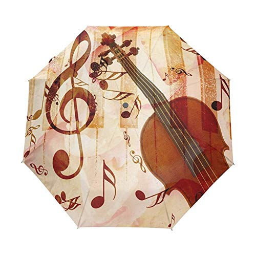 Paraguas a prueba de viento, Creative Music Pintura paraguas Mujer 8k Pongee Auto Open Cerrar viaje Paraguas automático Mujeres Paraguas plegable (Color : Style 4)