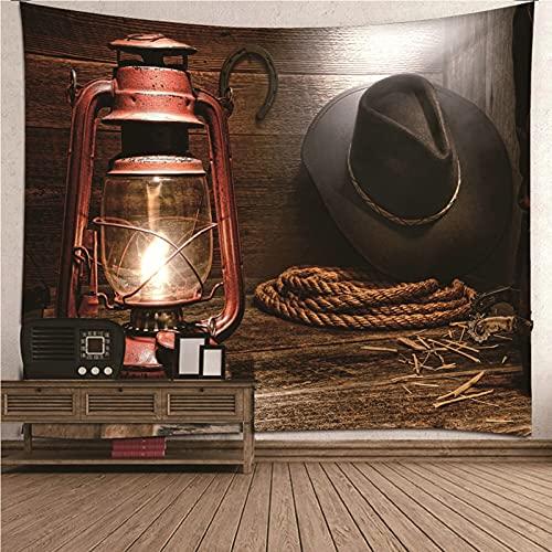 Aeici Tapiz Pared Decoracion 3D, Tapiz Playa Tapiz Lámpara de aceite y sombrero de vaquero retro- marrón, 150x150CM