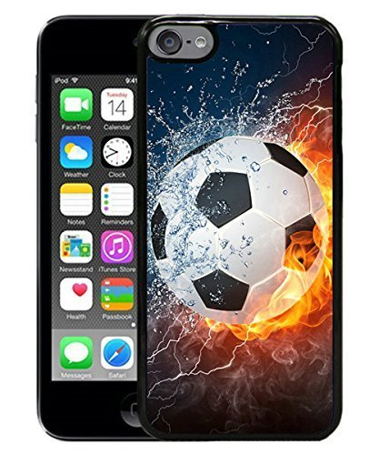 Flaming soccer Fire and Water Black for iPod touch 6 Case