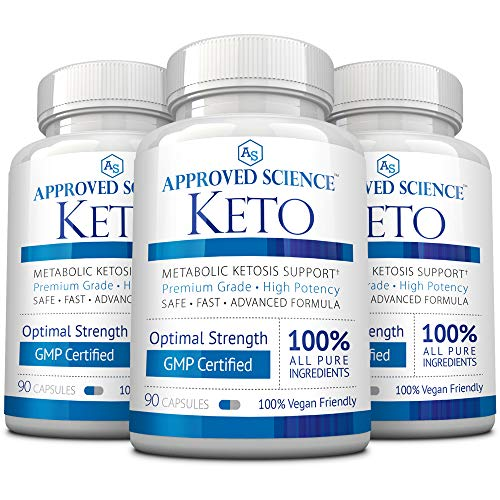 Approved Science® Keto: Pure Exogenous 4 Ketone Salts (Calcium, Sodium, Magnesium and Potassium) and MCT Oil to Boost Ketosis. 3 Bottles