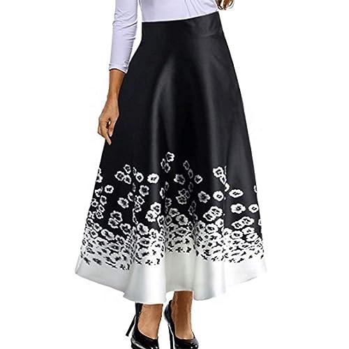 b4eb2339 Red Dot Boutique 8826 - Plus Size Floral Blossoming Colorblock Monochrome  Print Long Skirt