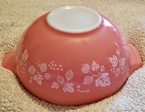 Vintage Pyrex 4 Quart Pink w/ White Gooseberry Mixing Batter Nesting Cinderella Bowl #444