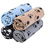 Aodaer Pack of 4 Pet Blankets with Paw Prints Pet Cushion Animals Blanket Puppy Dog Blanket for Small Animals, Black, Grey, Beige and Light Blue, 70 x 100 cm