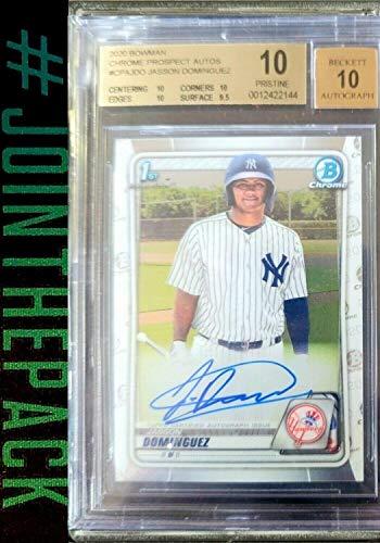 Jasson Dominguez 2020 Bowman Chrome Auto Rookie Bgs 10 Pristine Autograph Yankee - Baseball Slabbed Autographed Cards