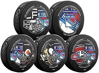 2014 NHL Stanley Cup Playoffs Complete New York Rangers Souvenir Hockey Puck Set - 5 Pucks