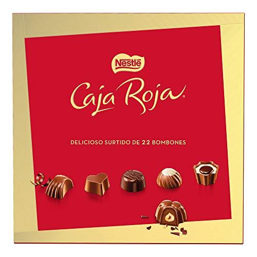 Nestlé Caja Roja Surtido de bombones de chocolate con leche, ne grro y blanco - Estuche de bombones 200 gr