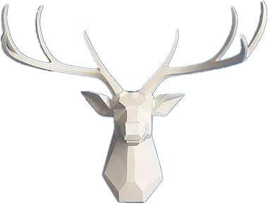 Deer Head Wall Decor - Faux Taxidermy Animal Head Wall Art - Geometry Deer Head Home Decor,8 Point Buck Deer Head Bust Wall H