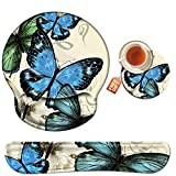 Wrist Rest for Computer Keyboard and Mouse Pad with Wrist Support Gel, Blue Butterfly Ergonomic Mousepad Comfortable Keyboard Pad Set Non-Slip Base Come with A Cute Coaster