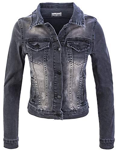 Rock Creek Damen Jeans Jacke Übergangs Jacke Denim Blouson Stretch Kurz Classic Jeansjacken Urban Stonewash D-401 Grau L