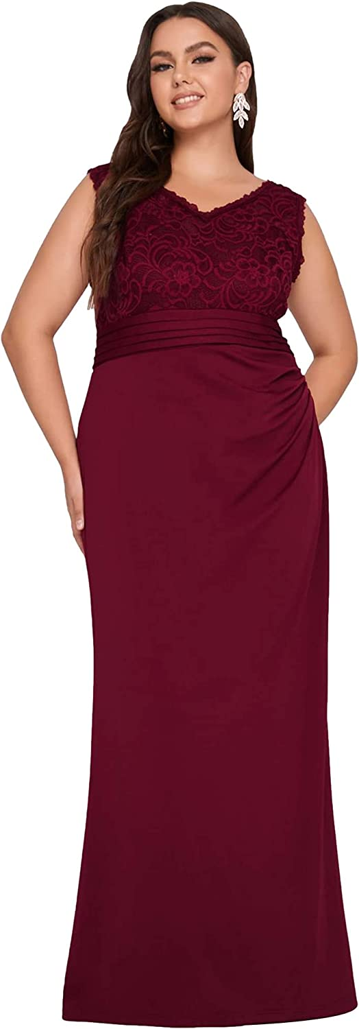 Ever-Pretty Women's V-Neck Sleeveless Mermaid Lace Plus Size Evening Dresses for Party 50064-PZ
