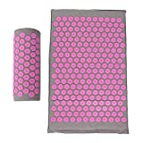 Agatige Acupressure Mat, Acupuncture Massage Mat and Pillow Set for Back Massage Neck Pain Relief Products Anxiety Relief Items(Pink)