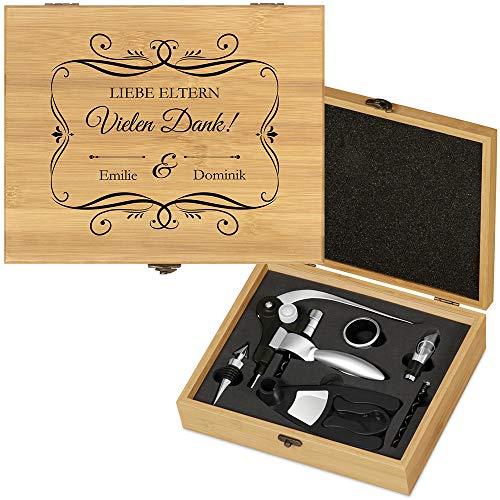 Murrano Weinöffner-Set personalisiert Weinset Sommelier Set - Geschenkbox Holzbox + 6er Weinzubehörset - aus Bambus - Braun - Geschenk Hochzeit Hochzeitstag Paar - für Eltern
