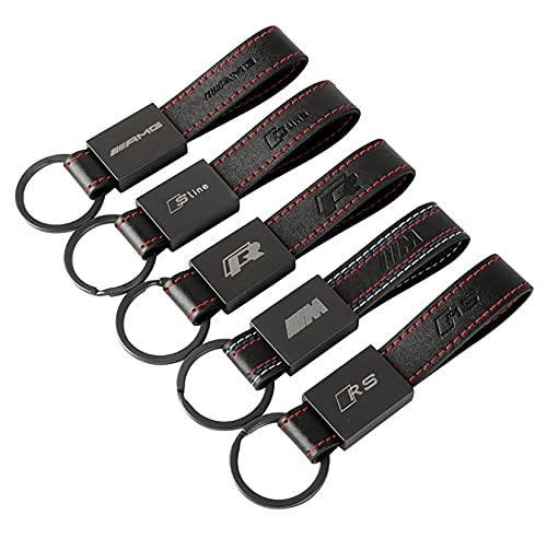 Accesorios Prime Llavero de Coche Personalizado - Modelos AMG,S Line, R, M, RS - Fabricado en aleación de Zinc y Cuero - Serigrafíado a Laser (M)