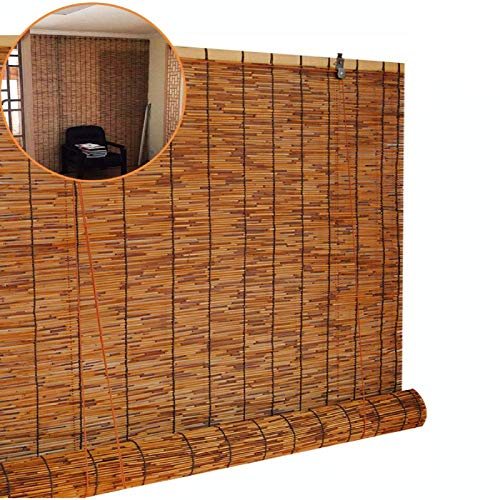KEOA Cortina de Paja Vintage Tejidas A Mano Persianas De Caña Natural Protector Solar Parasol Cortinas Romanas para Exteriores e Interiores-50×90cm/20×35 in