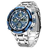 GOLDEN HOUR Relojes para hombre analógicos digitales de acero inoxidable de lujo Deporte al aire libre Impermeable Reloj de pulsera grande y pesado plata azul