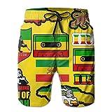 magic ship Herren Badehose Quick Dry Beach Badeshorts (Rasta Lion Jamaican Reggae Flag Map Magnetband)