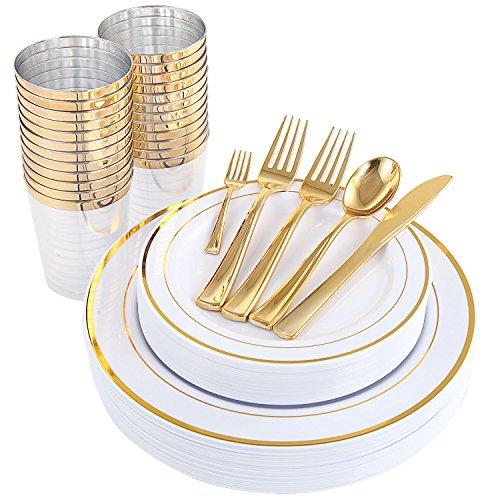 WDF 25Guest Einwegteller mit goldfarbenem Besteck, 25 Speiseteller, 25 Salatteller, 50 Gabeln, 25 Messer, 25 Löffel und Kunststoffbechern, 25 Mini-Gabeln gold