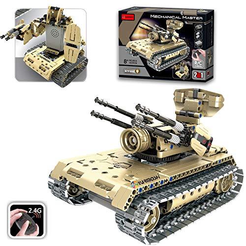 YARMOSHI RC Building Blocks Tank Turret Gun Engineering Educational STEM Gift for Boys & Girls Model Cars Kit 457 PCS Remote Control USB Charger for Kids Teens Adults