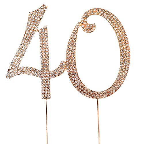 MAGJUCHE Gold 40' Crystal Cake Topper, Number 40 Rhinestones 40th Birthday Cake Topper, Men or Women Birthday or 40th Anniversary Party Decoration Supply