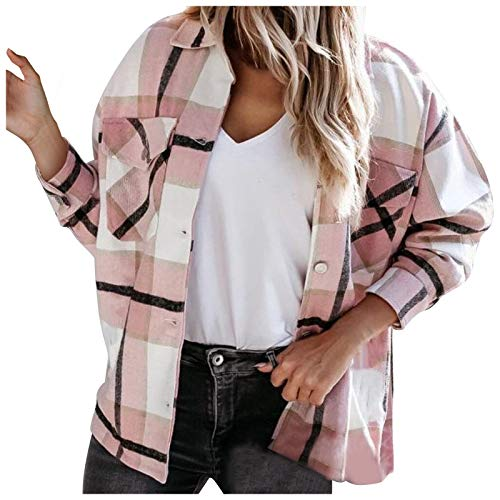 WAo Blusa de manga larga para mujer, estilo casual, a cuadros, con botones, camisa de novio con bolsillos,...
