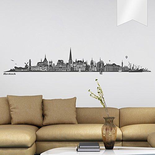 WANDKINGS Wandtattoo Skyline Rostock 120 x 20 cm - Milchglasfolie - 35 Farben zur Wahl