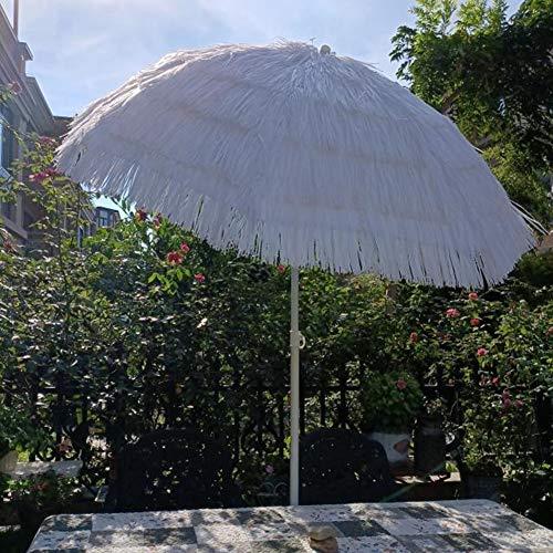 CYY Sombrilla de Playa Hawaiana Redondo con Protección UV con Mecanismo de Inclinación,Sombrilla Portátil de Patio Al Aire Libre de 2.0M,para Terraza Jardín Piscina Patio